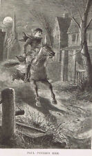THE RIDE OF PAUL REVERE - 1882 Engraved Print