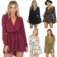 Women's Playsuit V Neck Long Sleeve Mini Jumpsuit Blouse Holiday Shorts Romper