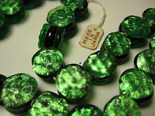 vintage japan foil glass beads 12mm double sided flat rare 1 strand25 beads