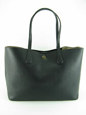 NWT Tory Burch Large Perry Pebbled Leather Tote Handbag in Black Beige $395 AUTH