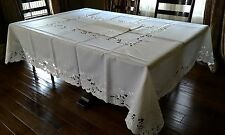 """72x108""""Large Embroidered White Rose Tablecloth Topper Wedding Party Home Decor"""