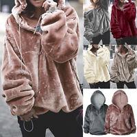 Ladies Winter Fluffy Fur Sweatshirt Hoodie Jumper Hooded Tops Pullover Outwears