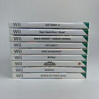 Nintendo Wii Games Bundle X9 Just Dance 4, Smash Bros, Mario, Monopoly, Tomb