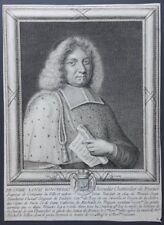 GRAVURE XVIIe LOUIS BOUCHERAT chevalier chancelier France portrait ARMOIRIES
