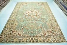 Green Vintage Rug 6x9ft.,Hand Knotted Turkish Oushak,Antique Anatolian Rug.