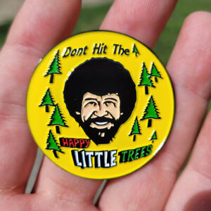 Disc Golf  Pin - NEW 1 3/4' metal double posted Bag, hat, lapel pin - Bob Ross