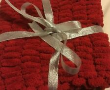 Hand Knitted Red Small Throw