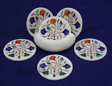 Drink Cup Tea Coaster Set Marble Inlay Coasters Holder Tableware Mosaic