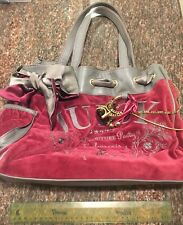 Juicy Couture Daydreamer Maroon and Gray Velour Purse