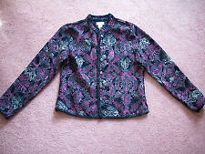 Women's brocade shirt jacket by Christopher & Banks Small black purple beige