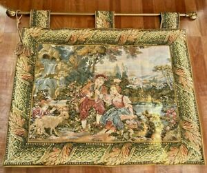 Vintage Tapestry Wall Hanging Romantic Couple w/ Chrubs Angel 53x35 With Rod