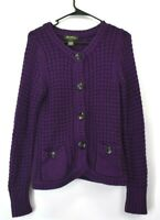 Eddie Bauer Women's Medium Long Sleeve Open Knit Button Up Cardigan Purple