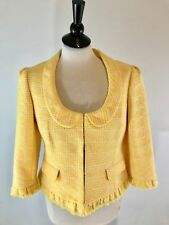NWOT Ann Taylor LOFT Yellow Tweed Fringed  Blazer Jacket 3/4 Sleeve  10P