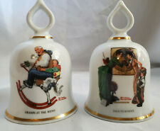 Set of 2 The Wonderful World of Norman Rockwell Danbury Mint Bell 1979