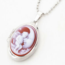925 Sterling Silver Locket Pendant Angel Crescent Moon Agate Cameo w/Chain 19.5""