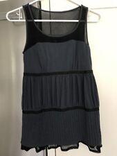 New Moda International Women's  Sleeveless Ruffle Pleated TopSz S Bra Shelf Blue