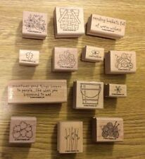 Stampin' Up! 13 Wooden Mounted Rubber Stamps Stamping Basket Full of Fun 2 Step