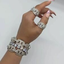 Cubic Zirconia Iced Out Bling Baguette Engagement Band Eternity Ring For Women