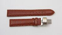 "Lucien Piccard 18MM Lizard Grain Genuine Leather Watch Strap 7.5"" CINNAMON BROWN"