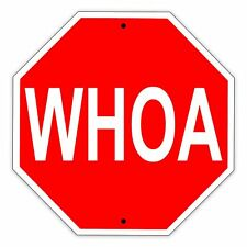 "WHOA Stop Shaped Sign Funny Aluminum Metal 12"" x  12"" Sign"