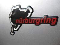 1 Nurburgring Domed Sticker Chrome & red on Black v002