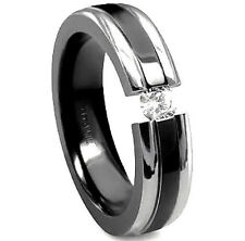 TITANIUM TENSION RING with CZ AND BLACK ACCENT BAND - size 10, NEW