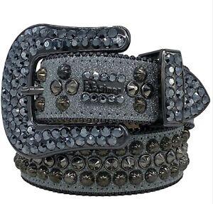 BB Simon Safa Static - Gray Leather Belt 38 XXXL New