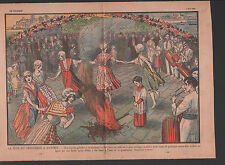 FETE DU PRINTEMPS ANTIBES GROUPES FOLOKLORIQUES GALOUBET  ILLUSTRATION 1930