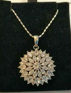 Large Sterling silver star burst white topaz pendant with fancy chain
