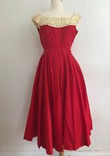 Vintage 1950s Cocktail Dress Small Formal Prom Red Cream Laurie Jane Sz 13 AS IS