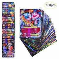 100Pcs Pokemon GX Cards Lot Poke Cards TCG Style Card Holo 60 EX 20 Mega 20 Gift