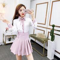 Women's Sweet Lovely Lolita Princess Long Sleeve bowknot Tops Skirt Dress