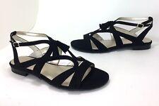 New Anne Klein Noreena size 8.5 Black Faux Suede Ankle Strap Tassel Sandal Flats