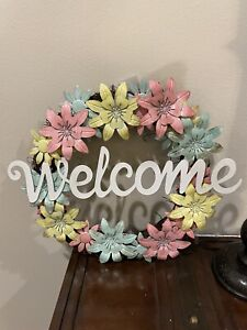 """Spring """"Welcome"""" Multi-Colored Metal Flower Wreath"""