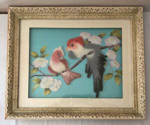 Vintage Midcentury Felted Handmade Wool Birds on Tree Art Framed MCM 1970 19x23