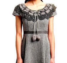 RYU GRAY A-LiNE CRoCHET DRESS FuR PoM RibboN Tie ToP Anthropologie MoDCloTH M