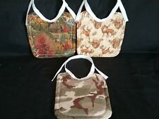 3 New Handmade Large Cotton Deer And Camo Hunting Baby/Toddler Bibs With Ties