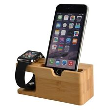 Stand Dual Charge Wooden Dock Station For Apple Watch 1 2 iPhone 5S 6 6S Plus 7