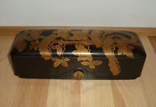 """New listing Very Fine Antique Japanese Wood Lacquer & Gilt Letter Box * 9.5"""" Long * Meji"""