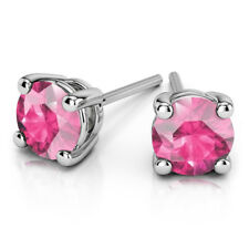 4.00 Ct Real Round Solitaire Pink Sapphire Earrings 14K Solid White Gold Studs