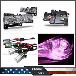 FOR CHEVY/GMC C/K HALO LED PROJECTOR HEADLIGHTS CHROME CLEAR+12000K PINK AC HID