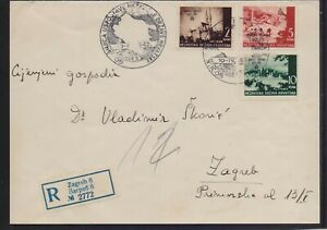 CROATIA 1942 REGISTERED (ZAGREB) MAILED  COVER INLAND MAIL