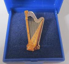 Harp Pin Badge Brooch Lapel Concert Player Harpist Celtic Folk - GIFT BOXED