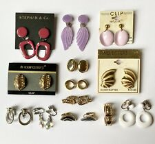 Vintage Now Clip On Earrings Lot - 13 Pairs - Gold Tone Purple Wings Rope