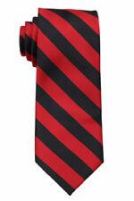 NWT Extra Long Red and Black Collegiate Striped Men's Tie Necktie School Ties