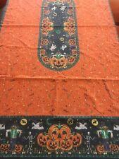 "Halloween Cotton Print Tablecloth Pumpkins Candy Corn 59""x89"""