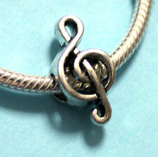 4pcs Silver Charm Spacer beads fit Authentic European bracelet 3D Music Note