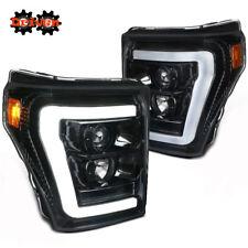11-16 Ford F250 F350 Super Duty Glossy Black Projector Headlight w/Tube C DRL
