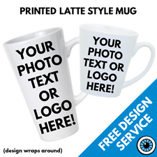 Custom Printed Latte Mugs • Personalised Print Gift Image Text Photo Cafe Mug