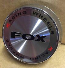 4 X FOX RACING FX2 FX5 ALLOY WHEEL CENTRE CAPS PLUS BADGES (SILVER) (63MM)